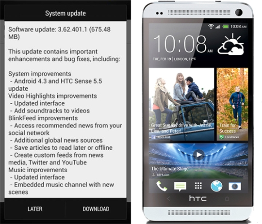 htc one 4.3 android